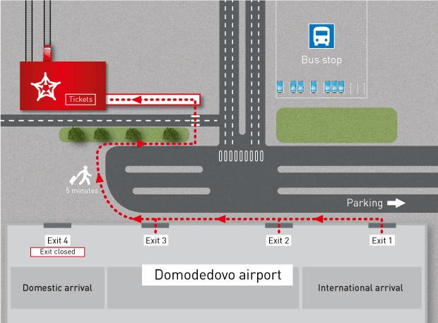 Mapa a la estacion del Aeroexpress en el aeropuerto de Moscu