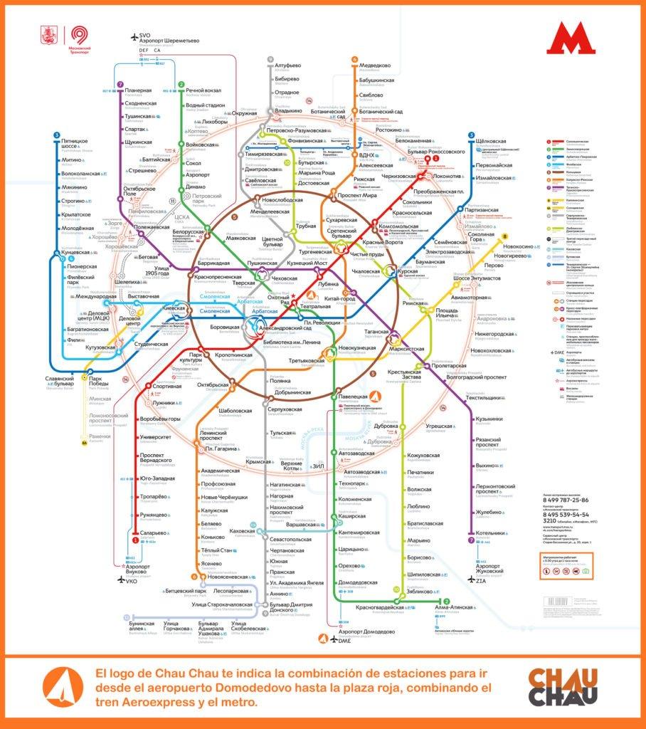 Mapa del metro de Moscú en ambos alfabetos