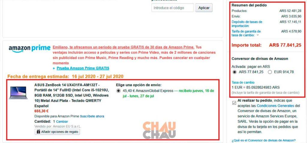 Facturación Amazon España para envío a Argentina